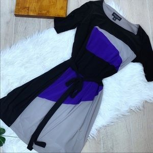 Perceptions Colorblock Belted Tie Front Dress 2425